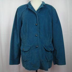 J Jill Jacket Coat 16 Stretch Blue Pockets